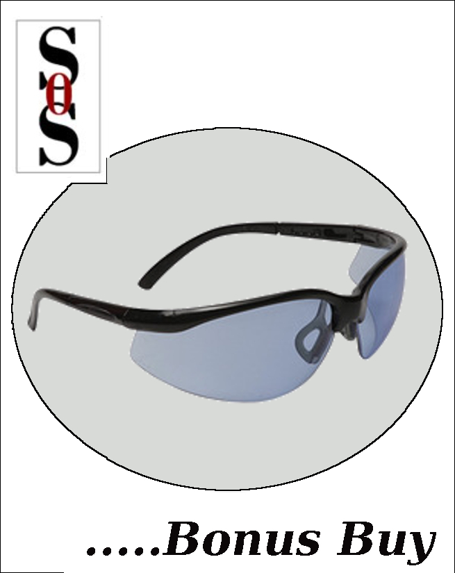 Motion Eyewear with Black Frame, Blue Polycarbonate Lens with Scratch Resistant Coating and Adjustable Temples