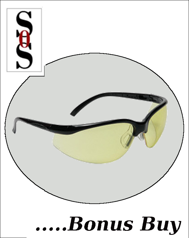 Motion Eyewear with Black Frame, Amber Polycarbonate Lens with Scratch Resistant Coating and Adjustable Temples