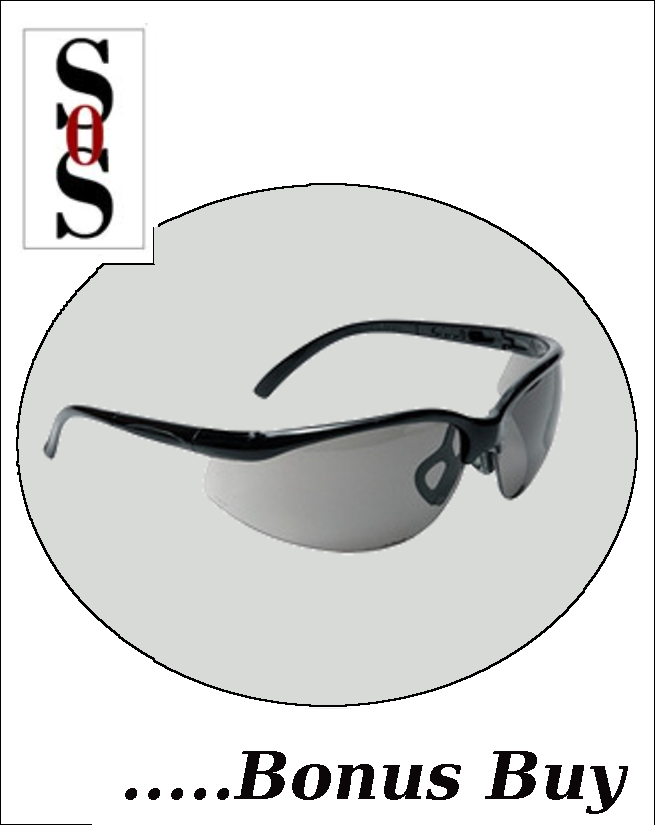 Motion Eyewear with Black Frame, Gray Polycarbonate Lens with Scratch Resistant Coating and Adjustable Temples