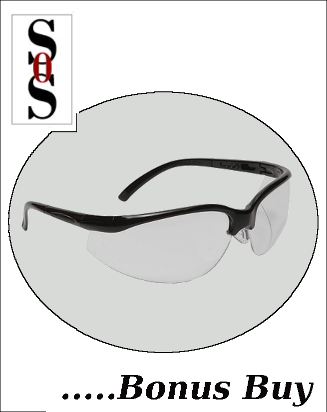 Motion Eyewear with Black Frame, Clear Polycarbonate Lens with Scratch Resistant Coating and Adjustable Temples