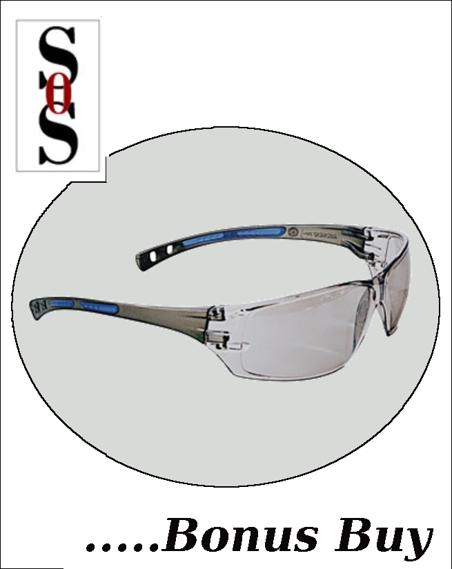 Cobalt Eyewear with Charcoal Frame, Clear Indoor/Outdoor Anti-Fog Lens and Adjustable Temples