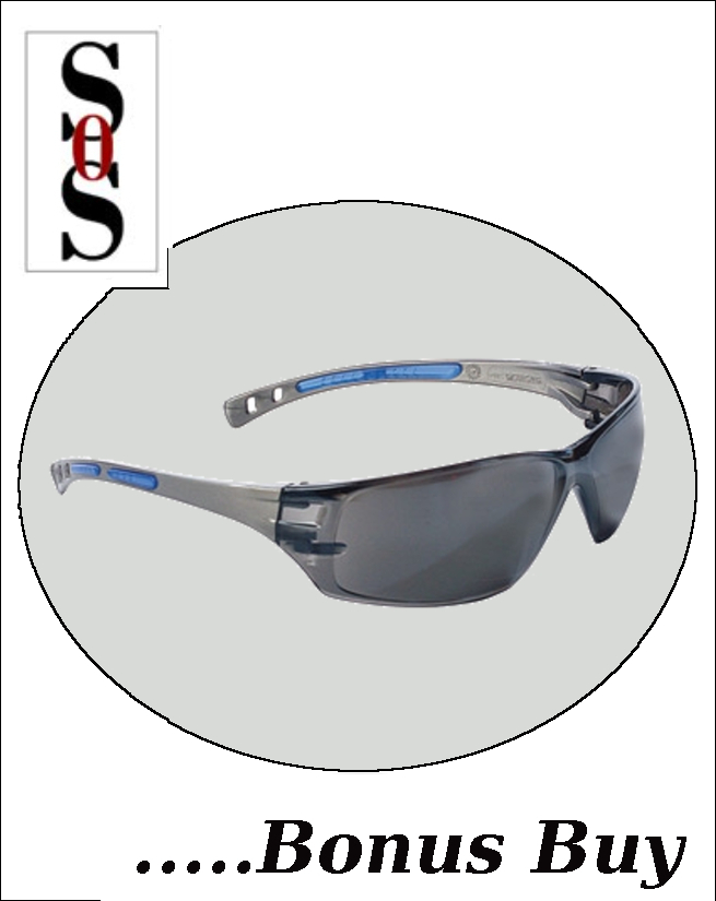 Cobalt Eyewear with Charcoal Frame, Gray Anti-Fog Lens and Adjustable Temples