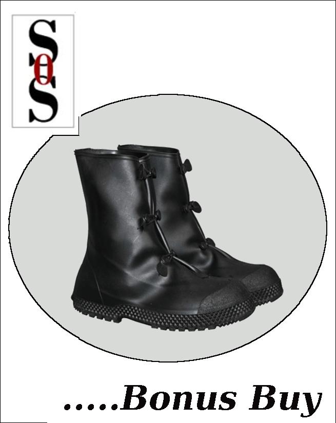 "12""  Black PVC Slip-On Overboots"
