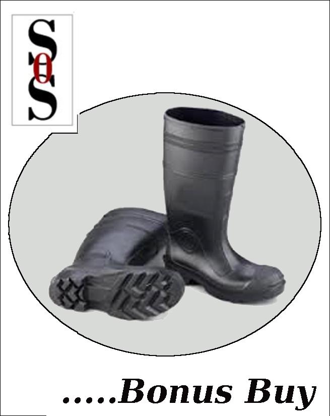 """16"""" Black Steel Toe PVC Economy Boots"""