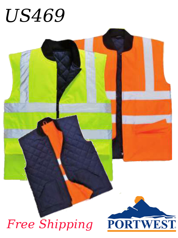 Portwest US469, Hi-Vis Reversible Class 2 Insulated Vest/SHIPPING INCLUDED/$ per Vest