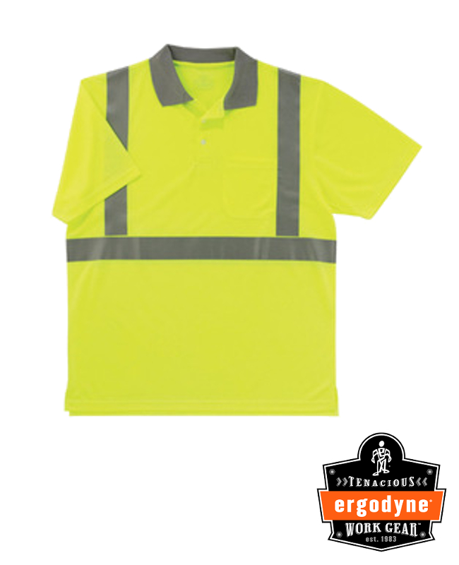 "Ergodyne Hi-Viz Lime GloWear 8295 Birdseye 4.1 oz Moisture Wicking Polyester Knit Class 2 Breathable Polo Shirt With 3M Scotchlite 2"" Level 2 Reflective Tape And 1 Pocket"