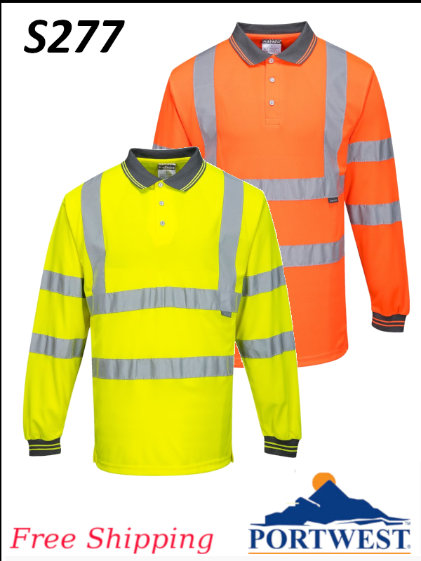 Portwest S277, Hi-Vis Long Sleeve Polo Shirt/SHIPPING INCLUDED/$ per Shirt