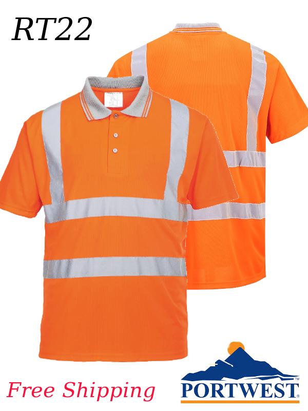 Portwest RT22, Hi-Vis Orange, Short Sleeve Polo Shirt, Class 2/SHIPPING INCLUDED/$ per Shirt