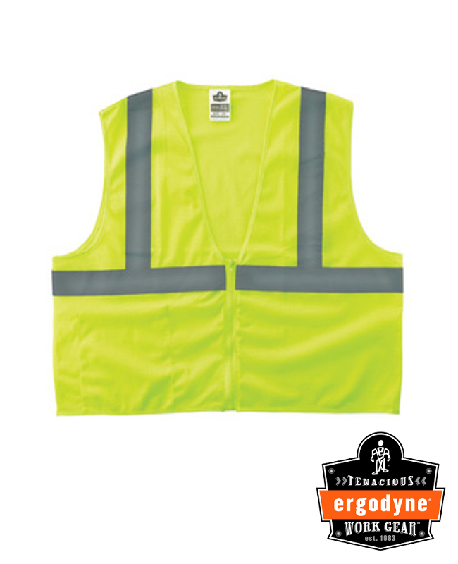 "Ergodyne Hi-Viz Lime GloWear 8210Z Economy 3.3 oz Polyester Mesh Class 2 Vest With Front Zipper Closure And 2"" Reflective Tape And 1 Pocket"
