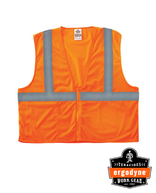 "Ergodyne Hi-Viz Orange GloWear 8215BA Economy 3.3 oz Polyester Mesh Class 2 5-Point Break-Away Vest With Front Hook And Loop Closure And 2"" Reflective Tape And 1 Pocket"