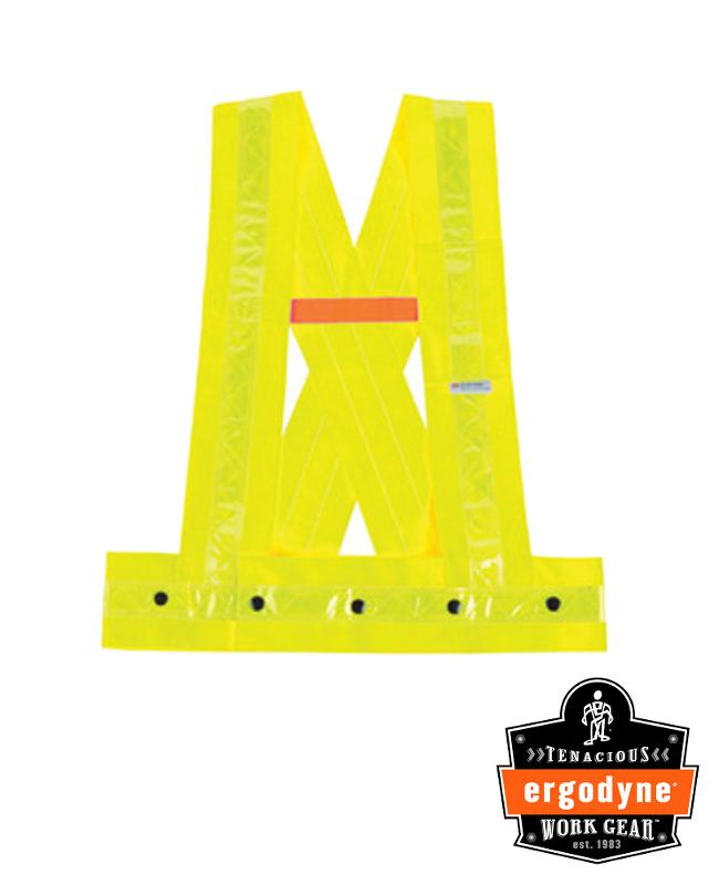 "Ergodyne Hi-Viz Lime GloWear 8140HG Oxford Polyester Class 1 X-Back Sash With Multiple Button Snap Closure And 3M Scotchlite 1 3/8"" Level 2 Reflective Tape And 1 Pocket"