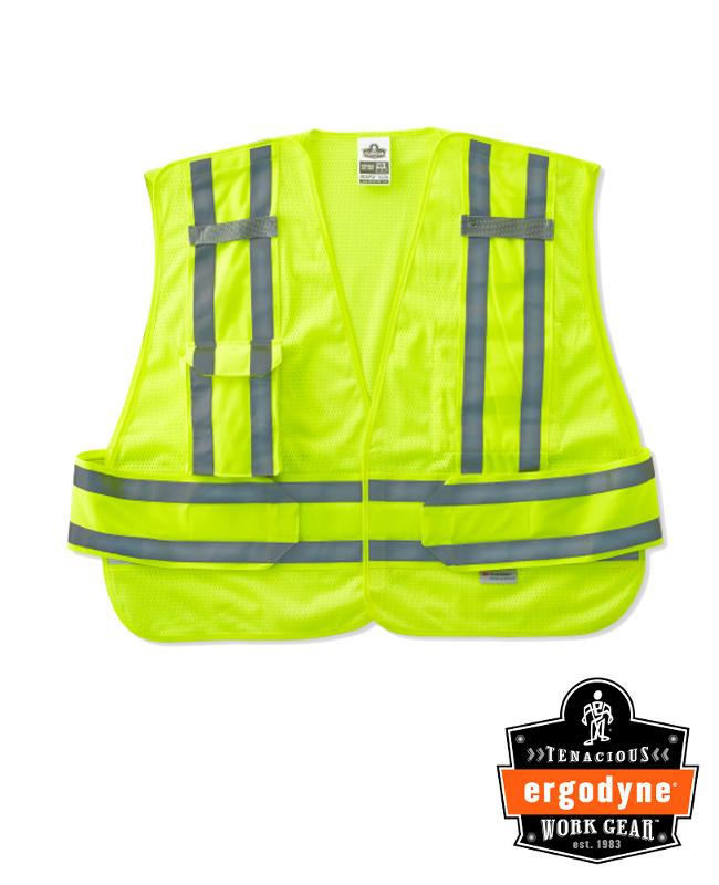 Ergodyne Hi-Viz Lime GloWear® 8244PSV 3.3 oz Polyester Mesh 5-Point Break-Away Expandable Public Safety Vest With Adjustable Side Closure And 3M Scotchlite Level 2 Reflective Tape And 2 Pockets