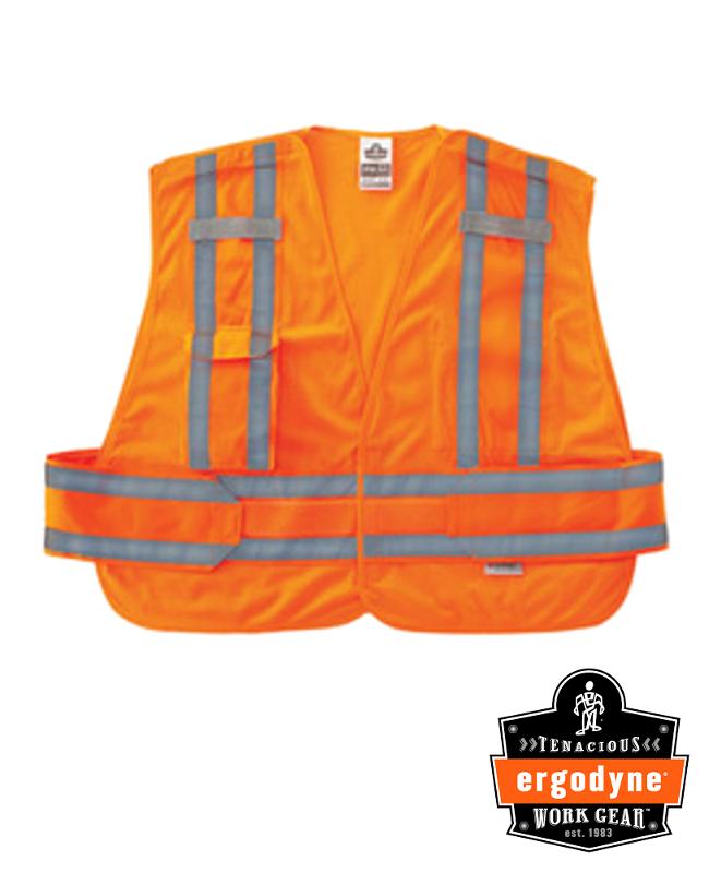 Ergodyne Hi-Viz Orange GloWear 8244PSV 3.3 oz Polyester Mesh 5-Point Break-Away Expandable Public Safety Vest With Adjustable Side Closure And 3M Scotchlite Level 2 Reflective Tape And 2 Pockets