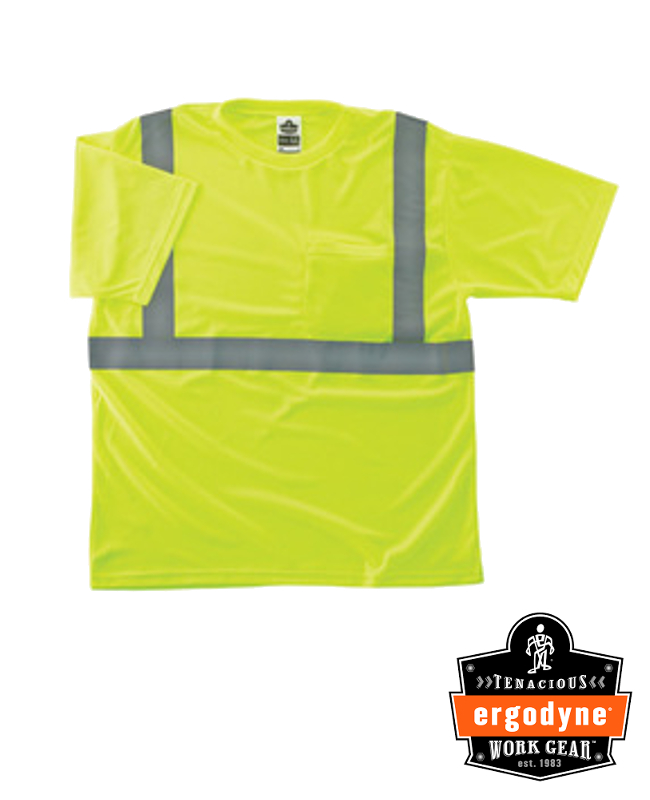 "Ergodyne Hi-Viz Lime GloWear 8289 Birdseye Economy Light Weight Moisture Wicking Polyester Knit Class 2 Breathable T-Shirt With 2"" Tape And 1 Pocket"