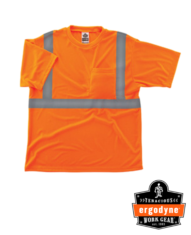 "Ergodyne Hi-Viz Orange GloWear 8289 Birdseye Economy Light Weight Moisture Wicking Polyester Knit Class 2 Breathable T-Shirt With 2"" Tape And 1 Pocket"