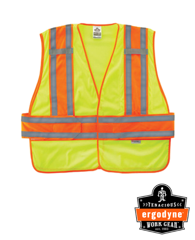 """Ergodyne Hi-Viz Lime GloWear 8240HL 3.3 oz Polyester Mesh Class 2 Two-Tone Expandable Vest With Hook And Loop Closure And 3M Scotchlite 1"""" Level 2 Reflective Tape And 1 Pocket"""