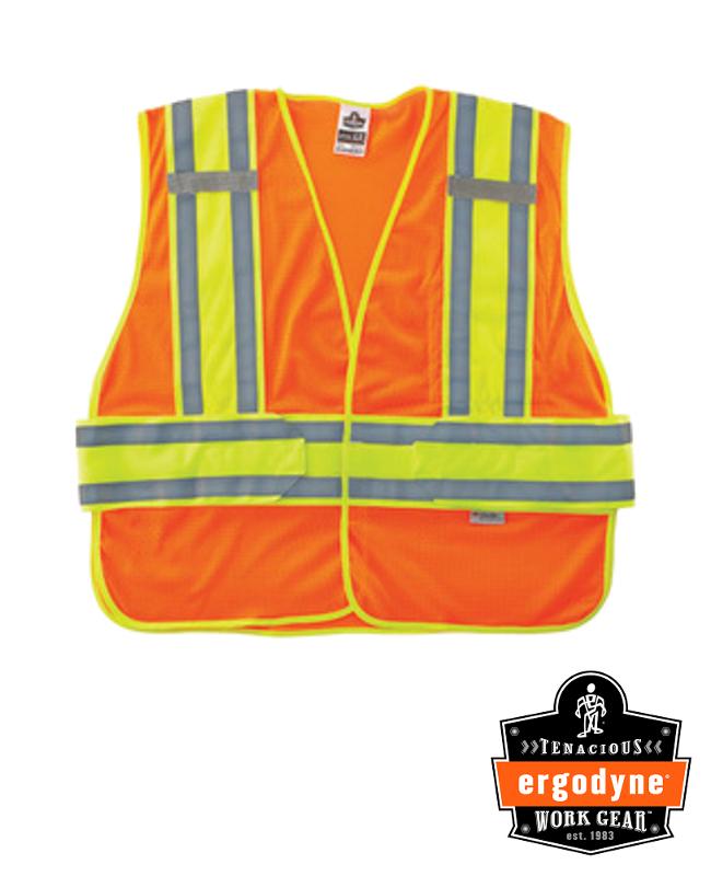 "Ergodyne Hi-Viz Orange GloWear 8240HL 3.3 oz Polyester Mesh Class 2 Two-Tone Expandable Vest With Hook And Loop Closure And 3M Scotchlite 1"" Level 2 Reflective Tape And 1 Pocket"