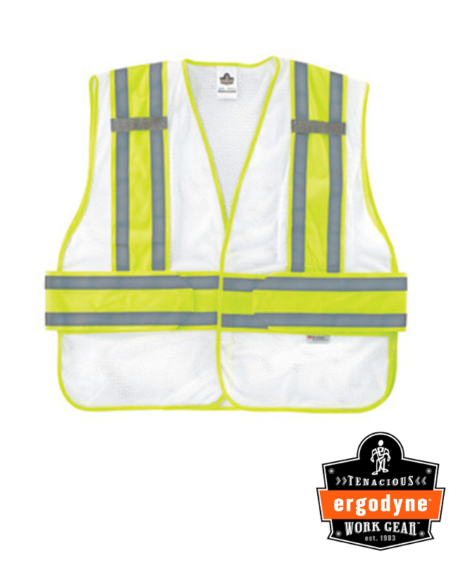 """Ergodyne White GloWear 8240HL 3.3 oz Polyester Mesh Class 2 Two-Tone Expandable Vest With Hook And Loop Closure And 3M Scotchlite 1"""" Level 2 Reflective Tape And 1 Pocket"""