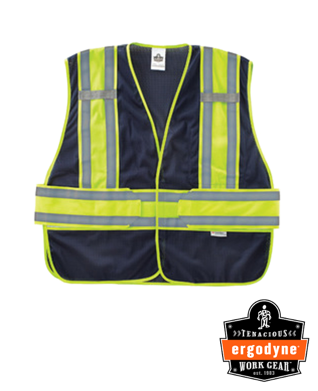 """Ergodyne Navy GloWear 8240HL 3.3 oz Polyester Mesh Class 2 Two-Tone Expandable Vest With Hook And Loop Closure And 3M Scotchlite 1"""" Level 2 Reflective Tape And 1 Pocket"""