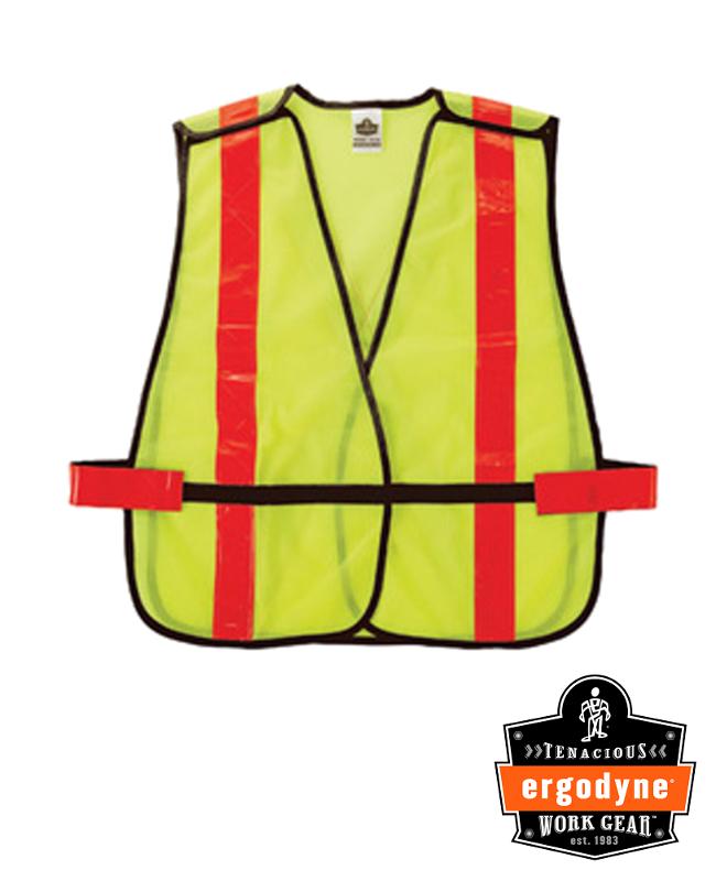 "Ergodyne Hi-Viz Lime GloWear 8080BAX 2.6 oz Polyester Mesh X-Back Vest With Front Hook And Loop Closure And 2"" Hi-Gloss Reflective Tape And Breakaway Shoulders"