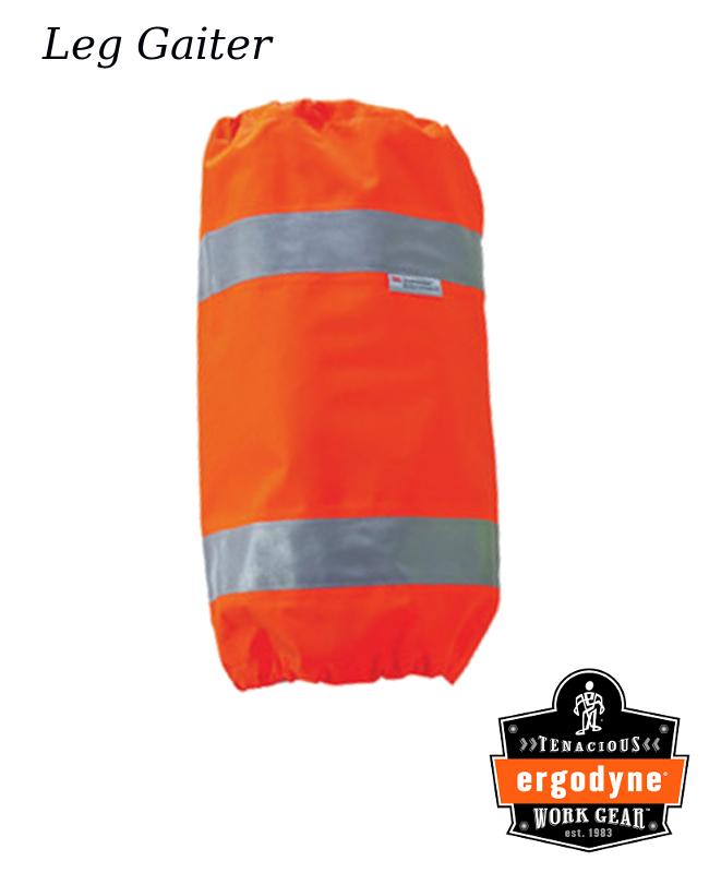 """Ergodyne Hi-Viz Orange GloWear 8008 Polyurethane Coated Polyester Shell Leg Gaiter With Drawstring Closure And 3M Scotchlite™ 2"""" Level 2 Reflective Tape"""