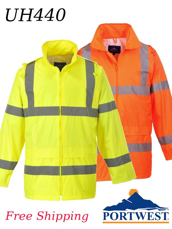 Portwest UH440, Hi-Vis Yellow and Orange Rain Jacket/FREE SHIPPING/$ per Jacket