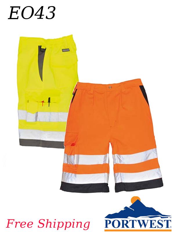 Portwest E043, Hi-Viz Poly-Cotton Shorts - Class E/SHIPPING INCLUDED/$ per Pair