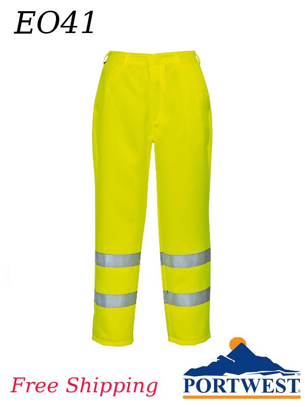 Portwest E041, Hi-Viz Poly-Cotton Pants - Class E/FREE SHIPPING/$ per Pair