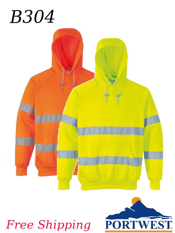 Portwest B304, Hi-Viz Hooded Sweatshirt/SHIPPING INCLUDED/$ per Each