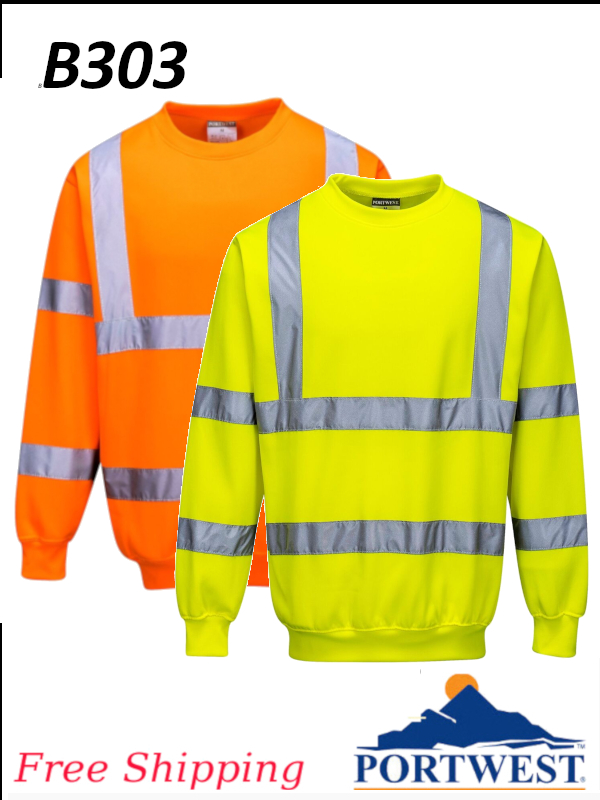 Portwest B303, Hi-Vis Sweatshirt/SHIPPING INCLUDED/$ per Each