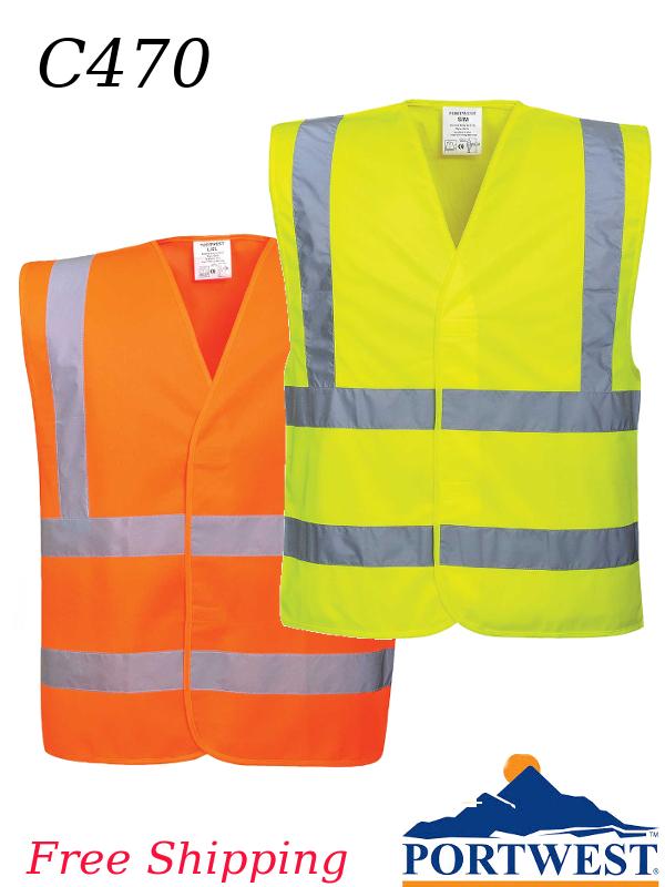 Portwest C470, Hi-Viz  Band and Brace Vest with Reflective Tape, Four Stripes/SHIPPING INCLUDED/$ per Vest
