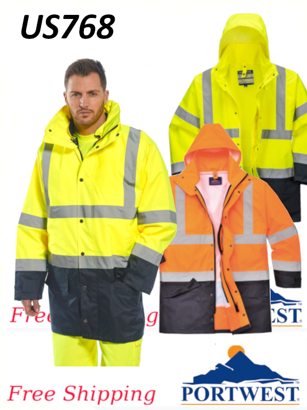 Portwest US768, 5-in-1 Hi-Vis, Waterproof, Executive Jacket, ANSI Class 3/FREE SHIPPING/$ per Jacket