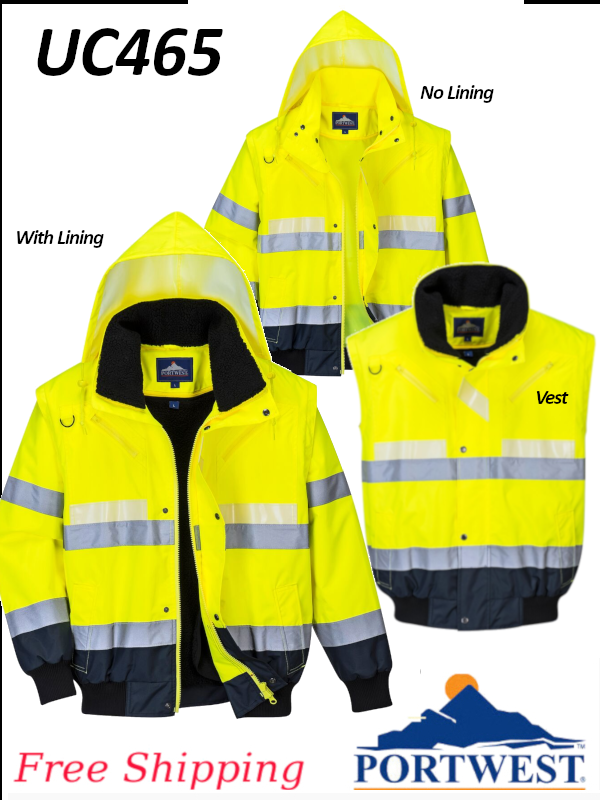 Portwest UC465, Hi-Vis Contrast Bomber Jacket/FREE SHIPPING/$ per Jacket