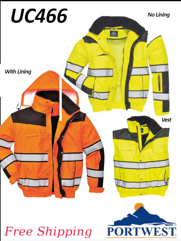 Portwest UC466, Hi-Viz Classic Bomber Jacket/FREE SHIPPING/$ per Jacket