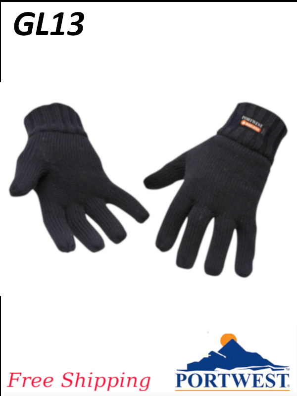 Portwest GL13, Insulatex Lined Acrylic Knit Black Gloves/FREE SHIPPING/$ per Pair