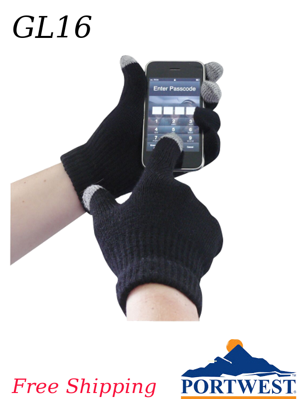 Portwest GL16, Touchscreen Knit Glove/FREE SHIPPING/$ per Pair