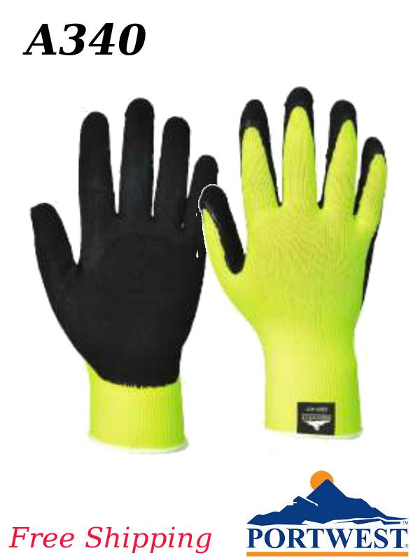 Portwest A340, Hi-Viz Yellow, Latex Foam Grip, Construction Work Glove/FREE SHIPPING/$ per Pair