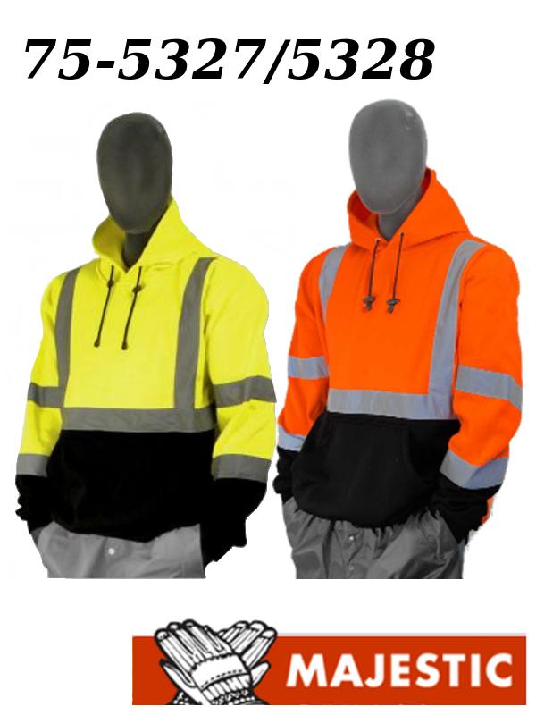 Majestic 75-5327/75-5328, Hi Vis Yellow or Orange. Black Bottom Pullover Sweatshirt, ANSI Class 3