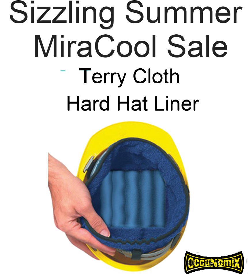 SALE, OccuNomix Blue MiraCool Terry Liner Sweatband with Hook and Loop Closure