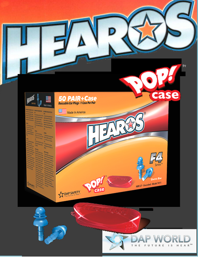 HEAROS F4 Series REUSABLE Earplugs / Corded and Uncorded / $ per Box