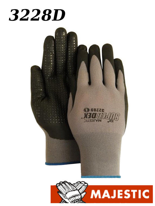 Majestic 3228D, SuperDex,  Nitrile Palm & Finger Coated with Dotted Gloves/$ per Dozen