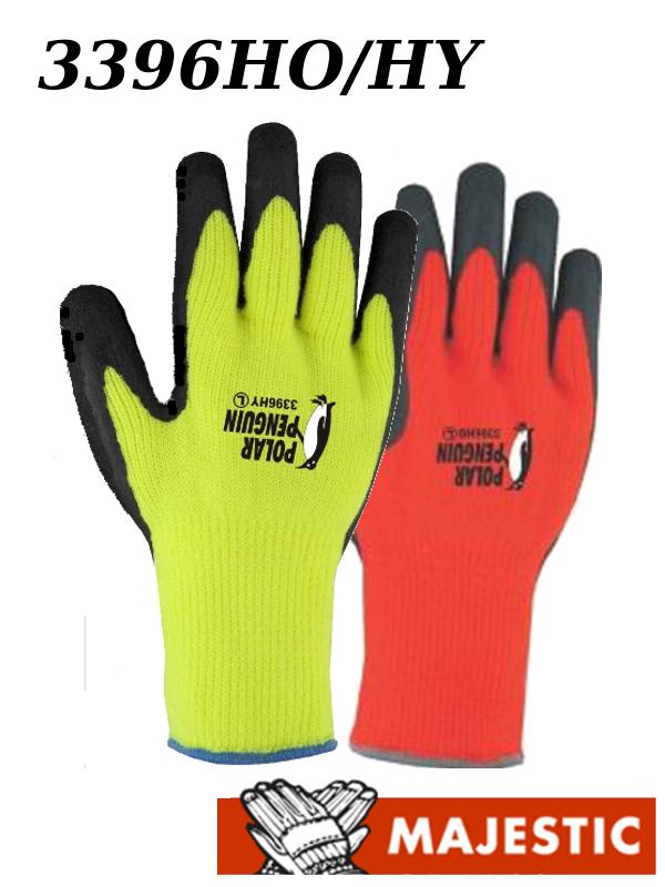 Majestic 3396HO/3396HY, Latex Dipped, Polar Penguin Winter Lined, Hi Vis Yellow or Orange Gloves/$ per Dozen ,