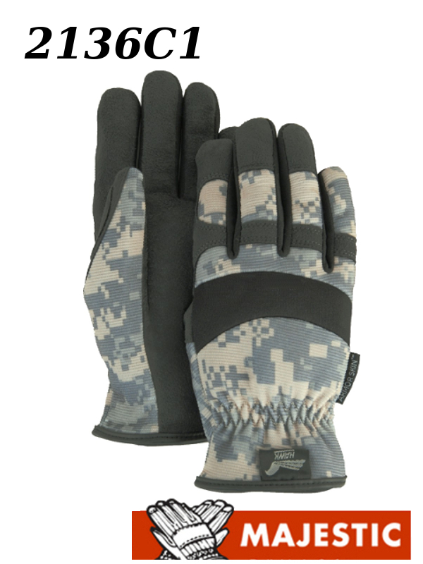 Majestic 2136C1, Armor Skin Digital Camouflage Knit Back, Slip-on Mechanics Style Gloves/$ per Dozen