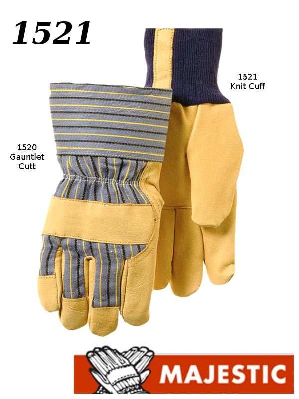 Majestic 1521, Pigskin Palm Leather, Polyester Fiber Lined, Knit Wrist Work Gloves /$ per Dozen