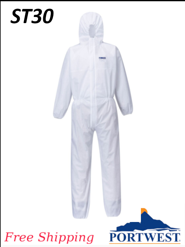 Portwest ST30, Biztex SMS Disposable Coverall, Type 5 & Type 6 - SHIPPING INCLUDED/$ per Box of 50
