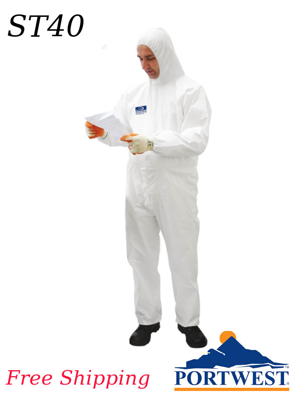 Portwest ST40, BizTex Disposable Microporous Coverall Type 6/5 - SHIPPING INCLUDED/$ per Box of 50
