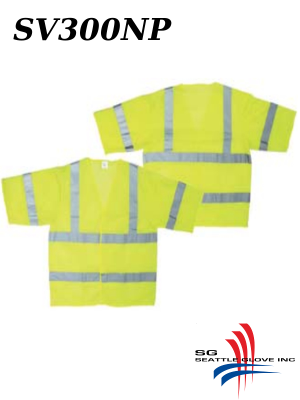 Seattle Glove SV300NP, ANSI Class 3, Yellow Mesh Safety Vest with No Pockets/$ per Each