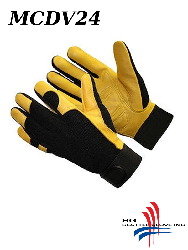 Seattle Glove MCDV24, Premium Deerskin Leather Mechanic's Gel Palm Anti-vibration Glove with Spandex Back/$ per Pair