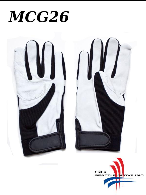 Seattle Glove MCG26, Premium Grain Goatskin, Black Spandex Back, Velcro Strap/$ per Pair