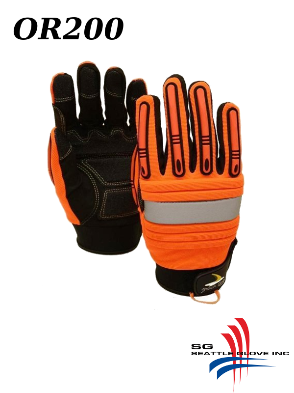 Seattle Glove OR200, Hi Vis Orange Synthetic Leather  Mechanics Glove, Impact Resistant and Anti-Vibration/$ per Pair